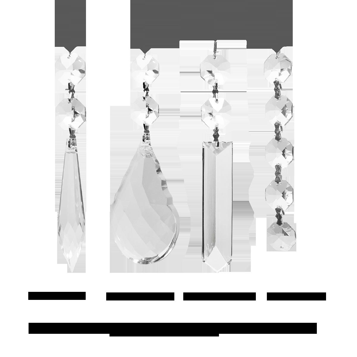Kristallbehänge 4 Paare an Faden zum Dekorieren, GKI.SORTIMENT-04